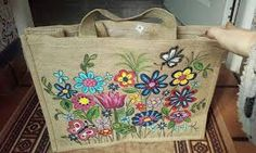 Resultado de imagen para bolsos de tela pintados a mano