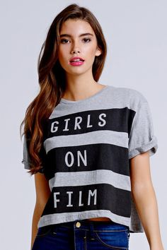 f1f5ae69ad Grey and Black Striped Girls on Film Tee Black Stripes
