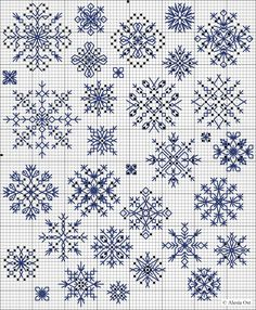 Christmas Blackwork Cross Stitch - Snowflakes by Mudgey Blackwork Cross Stitch, Blackwork Embroidery, Cross Stitch Charts, Cross Stitch Designs, Cross Stitching, Cross Stitch Embroidery, Embroidery Patterns, Hand Embroidery, Biscornu Cross Stitch