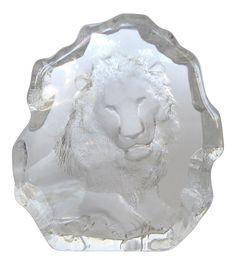 Mat Jonasson Swedish Etched Glass Lion