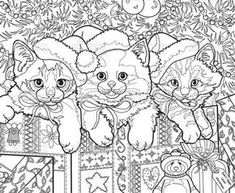 Coloring Pages For Grown Ups, Free Adult Coloring, Printable Adult Coloring Pages, Cat Coloring Page, Animal Coloring Pages, Coloring Book Pages, Christmas Cats, Christmas Colors, Christmas Coloring Sheets