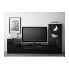 BESTÅ TV storage combination/glass doors - black-brown/Selsviken high gloss/black clear glass, drawer runner, push-open - IKEA