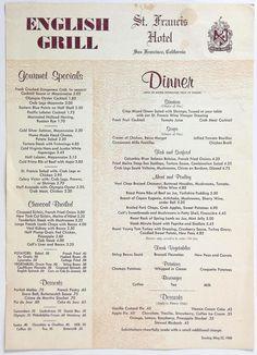 1960 Vintage Menu ST. FRANCIS HOTEL - ENGLISH GRILL Restaurant San Francisco CA