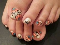 Sand - Black - Sky blue - Peach - Flower - Toe nail design