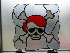 Stained Glass Pirate Flag Sun catcher  SKULL n by lilyangiolini, $79.99
