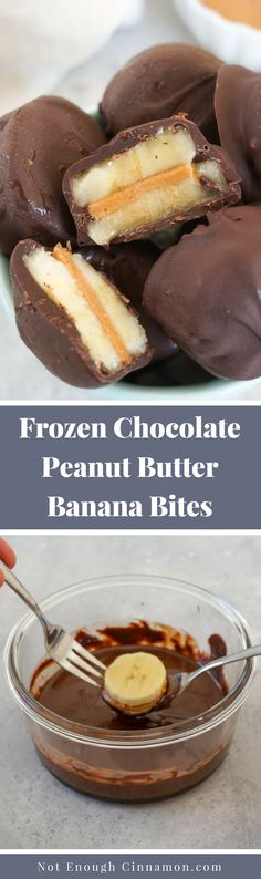 You only need three ingredients to make these delicious healthy frozen chocolate peanut butter banana bites. They are super easy to make and always a hit with everyone! Recipe on NotEnoughCinnamon. Peanut Butter Bites, Peanut Butter Banana, Chocolate Peanut Butter, Chocolate Dipped, Chocolate Treats, Healthy Dessert Recipes, Healthy Desserts, Snack Recipes, Paleo Treats