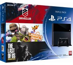Console Carrefour promo console, achat pas cher SONY COMPUTER Console 500 GO noire + Drive Club / Little Big Planet 3 / The Last Of Us prix promo Carrefour € Little Big Planet, Ps4, The Last Of Us, Promotion, Club, Arcade Games, Consoles, Sony, Video Game