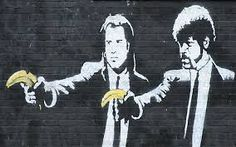 graffiti pulp fiction by banksy Banksy Graffiti, Street Art Banksy, Banksy Prints, Banksy Canvas, Bansky, Berlin Graffiti, Banksy Artwork, Urban Graffiti, Art Pop