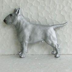 English Bull Terrier White Brooch Dog Breed Jewellery Handpainted Resin