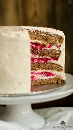 Valentine's walnut cake with mascarpone cream and raspberries