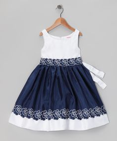 Navy & White Flower Dress - Infant | Daily deals for moms, babies and kids