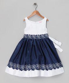 Navy & White Embroidered Dress - Infant, Toddler & Girls