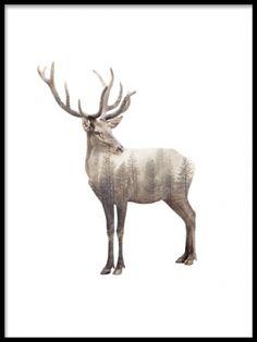 Snygg poster med hjort. Dubbelexponering med skog. Stilren poster till nordisk inredning. Tavla med natur.