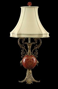 "Acanthus Red Lamp (W16"" D13"" H30½"")Bronze acanthus leaf base, hand painted crimson ball, lamp."