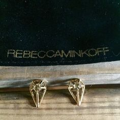 """Rebecca Minkoff boho blade earrings New with pouch, never worn (too edgy for my style). Gold plated brass and crystal accented studs by Rebecca Minkoff. 0.6"""" length. Rebecca Minkoff Jewelry Earrings"""