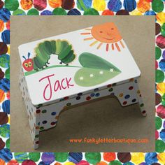 The Very Hungry Caterpillar BathroomHand Painted Caterpillar Bathroom Step Stool by www.funkyletterboutique.com