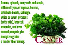 "It's a pumpkin time of year. Enjoy! ""Greens, spinach, many nuts and seeds, different types of squash, berries, artichoke hearts, cabbage, white or sweet potatoes (with skin), broccoli, avocados, and even canned pumpkin give deceptive grains a run for their money."" Please re-pin to share with your family & friends! Together we'll empower the world with life-saving knowledge! Join us for much more great information on The Truth About Cancer! <3"