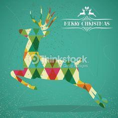 ベクトルアート : Merry Christmas vintage deer
