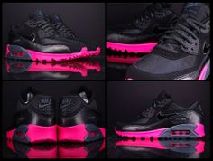 Nike WMNS AIR MAX 90 Black Dark Armory Pink Foil Womens