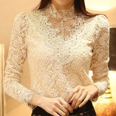 Cheap blusa de renda, Buy Quality lace blouse directly from China blouse 2016 Suppliers: Lace Blouse 2016 Elegant Long Sleeve Beaded Bodysuit Women Shirts Crochet Lace Tops Women Blusas Roupas Femininas blusa de renda Vintage Tops, Chemises Sexy, Sexy Bluse, Modelos Fashion, Sexy Shirts, Casual Shirts, Black And White Blouse, Black White, Plus Size Womens Clothing