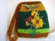 Felted Purse Handbag Bag Sunflower and by FeltedFantasies on Etsy, $190.00
