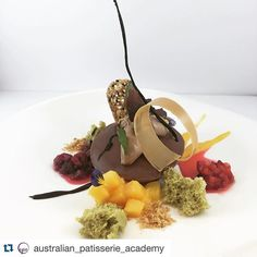 """#Repost @australian_patisserie_academy with @repostapp. ・・・ Plated dessert from yesterday's """"Chocolate desserts & presentations"""" class for beginners. #chocolate #desserts #plated #patisserie #shortcourse #australianpatisserieacademy #sydney"""