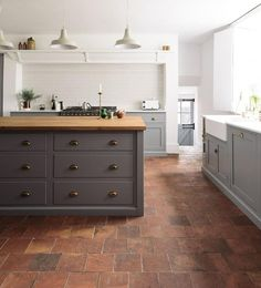 The Best Types of Flooring for Your Modern-Rustic Kitchen deVol Kitchens at The Cheshire Townhouse, featuring terracotta floor tiles, country living Home Decor Kitchen, Rustic Kitchen, Interior Design Kitchen, New Kitchen, Awesome Kitchen, Modern Country Kitchens, Kitchen Grey, Kitchen Modern, Kitchen Colors
