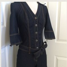 . Bisou BISOU Jean Jumpsuit XLNT COND:  u can roll up the pant legs up to change the look & height-I've seen worn rolled up to knee Bisou Bisou Jeans Flare & Wide Leg