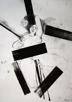"German artist Michael Lentz; Monotype, Printmaking ""NUDE No. 2944"""