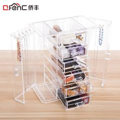 ==> [Free Shipping] Buy Best QFENC Unique Closet Design 6-tier Drawers Jewelry and Makeup Organizer 5 Hooks On Each Side Door Large Make Up Storage Box Online with LOWEST Price | 32791595240