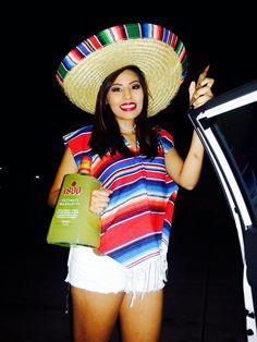 DIY Halloween costume #mexican pancho #sombrero #tequila
