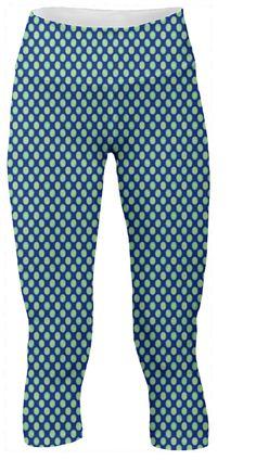 Yoga Leggings Pants Green circles pattern on Blue #paom #fashion #trends