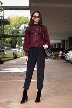 Bruna Tenório - Street style SPFW Dia 4 - burgundy