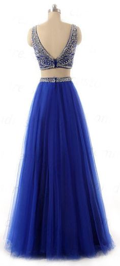 US$170.63-Sexy Two Piece Tulle Blue Long Beaded Prom Dress with Open Back. https://www.newadoringdress.com/bateau-neck-two-piece-tulle-prom-dress-with-beading-p312182.html. Free Shipping! NewAdoringDress selected the best prom dresses, party dresses, cocktail dresses, formal dresses, maxi dresses, evening dresses and dresses for teens such as sweet 16, graduation and homecoming. #prom #dress