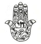 """A hamsa is an ancient symbol of protection for many cultures,- it means """"five"""" indicating the five fingers, since five is a sacred number in Hebrew tradition, it is also called the 'Hand of Miriam' and is used to ward off evil. The fish is often depicted in the hand and means good luck, the eye is used to deflect evil.    Above the paisley fish in the palm is the hebraic word """"chai""""- which means """"life"""". In the fingers above is spelled the word """"emet"""" which means """"truth"""""""