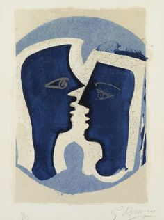 Georges Braque (French, 1882-1963) | Le Couple, 1963. Colour lithograph on cream wove paper, 38 x 28 cm.