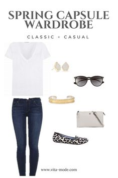 Create a classic + casual spring capsule wardrobe with the basics like crisp white tees, slim fit jeans, slip on shoes + simple accessories. Navy + white stripes, jeans, ray bans, light jackets + casual handbags round out this list. #spring #capsulewardrobe #womensfashion #casual #classic #fashion #vitamode #wardrobebasicscasual