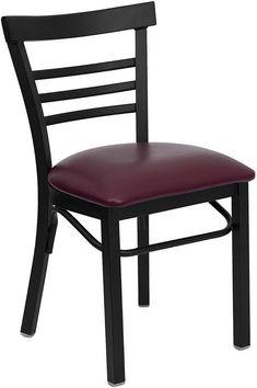 HERCULES Series Black Ladder Back Metal Restaurant Chair with Burgundy Vinyl Seat XU-DG6Q6B1LAD-BURV-GG by Flash Furniture