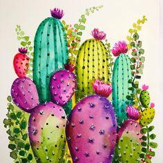 watercolor Colorful Cactus Garden no. 1 Original watercolor Colorful Cactus Garden no. watercolor Colorful Cactus Garden no. Red Cactus, Cactus Art, Cactus Flower, Flower Art, Small Cactus, Garden Cactus, Indoor Cactus Plants, Cactus Decor, Cactus Drawing