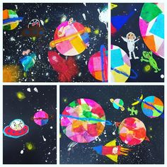 Back at it! Before spring break started 2nd grade finished their mixed media solar systems ☄️ #secondgrade #artteacher #solarsystems #arteducation