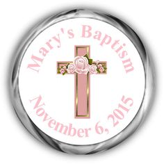 Pink Cross Baptism Hershey Kisses Sticker  by AnnounceItFavors