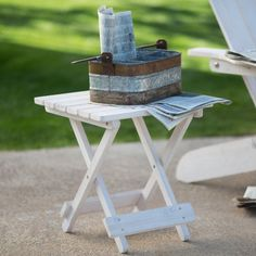 Outdoor Coral Coast Big Daddy Folding Side Table - Whitewash Stain - DDP-0918WW