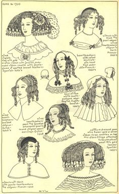 1600 to 1700 hats and hair