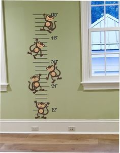 Items similar to Silly Monkeys Growth Chart Vinyl Wall Decal Made in USA - Growth Chart for Your Monkey Theme - For Any Room Pink or Blue, Green or Red on Etsy