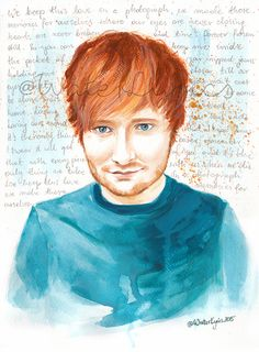 Ed Sheeran Watercolour Portrait with Photograph by WaterLyrics