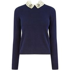 OASIS Embellished Collar Knit (1.160 UYU) ❤ liked on Polyvore featuring tops, sweaters, shirts, long sleeves, blue, long sleeve knit sweater, blue knit sweater, long sleeve sweater, long sleeve knit shirt and embellished shirt