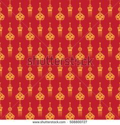 Chinese New Year pattern. 2017 Chinese festive background. Asian traditional seamless pattern with abstract golden lanterns. Vector illustration. Ornamental silk texture. Cards design, Fabric Print