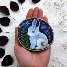 This lovely bunnie is now in the shop 🐰✨🙂 Rock Crafts, Arts And Crafts, Wicca, Spring Animals, Wooden Crafts, Wooden Art, Rock Painting Designs, Diy Crystals, Wood Painting Art