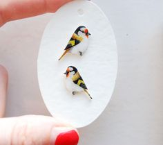 Bird earrings  Goldfinch Earrings  Hand drawn  by kirstinstride, £22.00