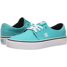 DC Trase TX (Teal) Women's Skate Shoes ($30) ❤ liked on Polyvore featuring shoes, blue, patterned shoes, low top skate shoes, low top, print shoes and teal shoes